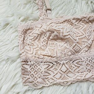 aerie Intimates & Sleepwear - Aerie Nude Pale Tan Bandeau Lace Bralette Bra